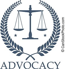 Advocacy legal center vector icon justice scales - Legal...