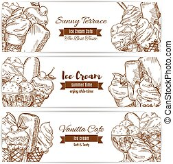 Ice cream desserts sketch vector banners for cafe