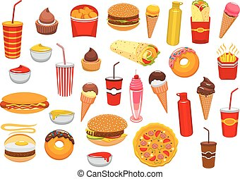 Fast food meal vector isolated icons set - Fast Food snacks...