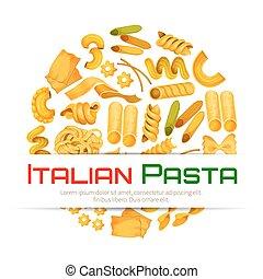 manifesto, vettore,  menu,  pasta, o, italiano
