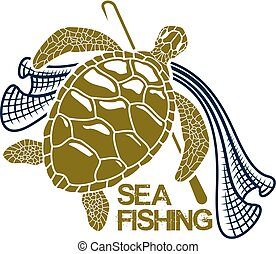 Sea fishing vector icon of turtle and fishing net - Sea or...