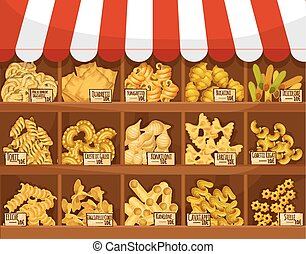 Pasta shop or market vector display stand stall - Pasta...