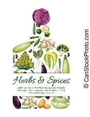 Vegetarian vector poster of fresh vegetables - Vegetables...