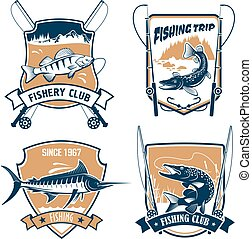 Fishing trip and fisher club vector icons set - Fishing...