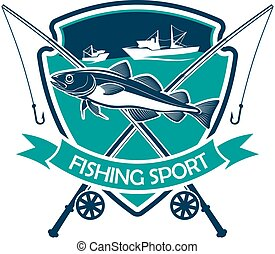 Fishing sport icon, fishery sign or vector emblem - Fishing...