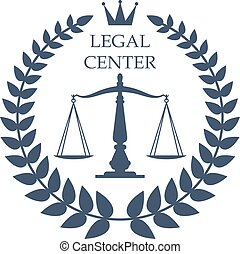 Legal center vector justice scales, laurel icon - Juridical...