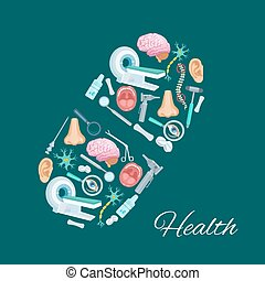 Health and medicine poster of vector pill symbol - Pill...