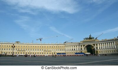 Palace square in petersburg, Russia.Time lapse. - Palace...