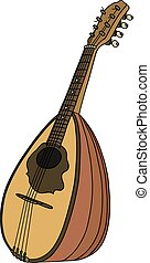 Old portugal mandolin - Hand drawing of a vintage portugal...