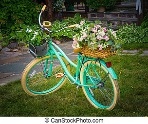 Yard Decor Bike Flowers - Old Green bike as yard decor piece
