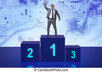 Businessman taking first place in competition