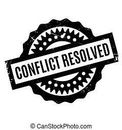 Conflict Resolved rubber stamp. Grunge design with dust...