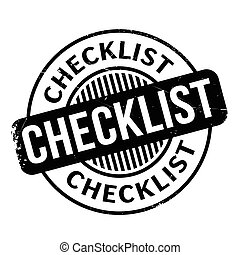 Checklist rubber stamp. Grunge design with dust scratches....