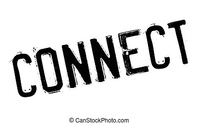 Connect rubber stamp. Grunge design with dust scratches....