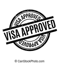 Visa Approved rubber stamp. Grunge design with dust...