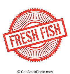 Fresh fish stamp. Grunge design with dust scratches. Effects...