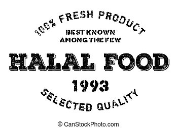 Halal food stamp. Grunge design with dust scratches. Effects...