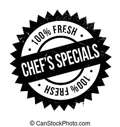 Chef specials stamp. Grunge design with dust scratches....
