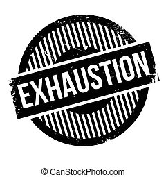 Exhaustion rubber stamp. Grunge design with dust scratches....