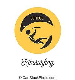Kitesurfer school logo - Kitesurfer school round shape logo