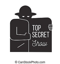 Man in black suit with the mask on white background. Top...