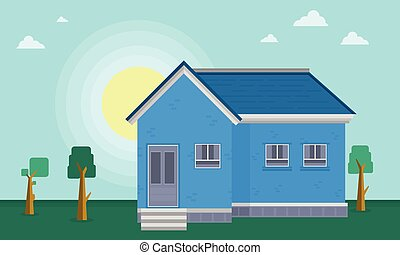 At morning house landscape vector art