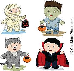 Children in masks - zombie, mummy, werewolf and vampire