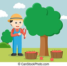 farmer pruning apple tree