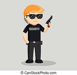 security guard with handgun