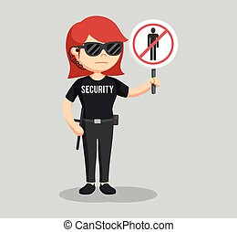 security guard woman with forbidden pass sign