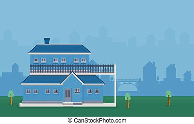 Illustration vector of house landscape