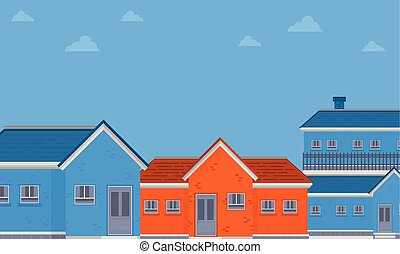 Vector flat of house on city