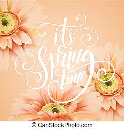 Gerbera Flower Background and Spring Lettering. Vector...