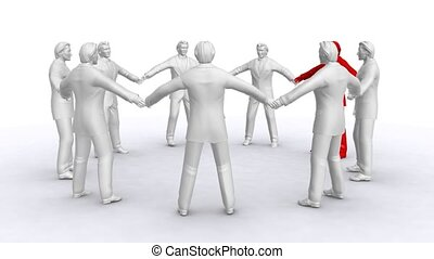 Businessmen who stand in a circle, rotate