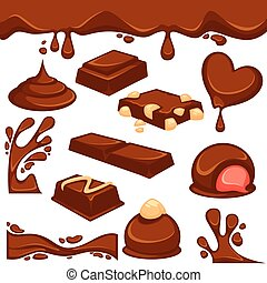 Chocolate dessert and candy vector icons - Vector icons of...