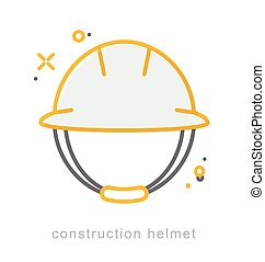 Thin line icons, Construction Helmet - Thin line icons,...