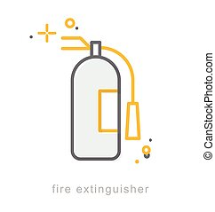 Thin line icons, Fire extinguisher - Thin line icons, Linear...