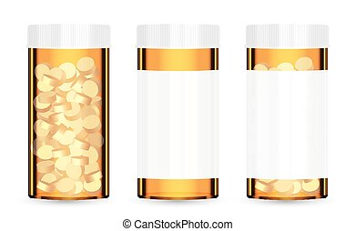 real orange medical pill bottle with pills inside