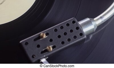 Old vinyl turntable playing music - Vintage vinyl turntable...