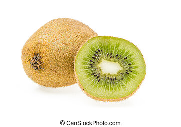 whole and cuted kiwi on a white background
