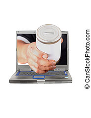 Online donation - Dirty man's hand holds a tin can with...