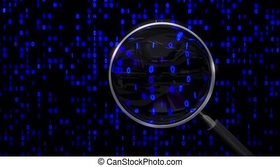 Data under magnifying glass binary spying spyglass 4k
