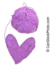 Yarn and mitten in form of heart love symbol. Isolated...