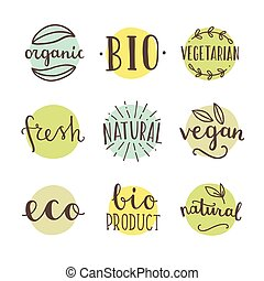 Bio, organic, natural. Set of hand drawn vector badges.