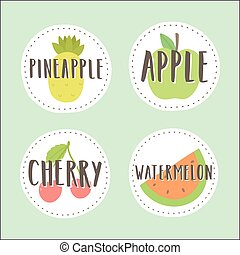 Set of fruit badges. Part 3.