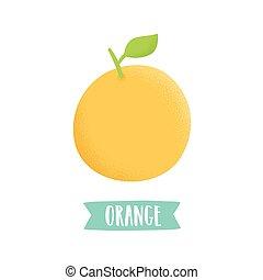 Hand drawn orange isolated on white.