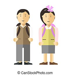 School child girl and boy vector flat illustration -...