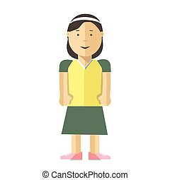 Woman or young girl vector flat illustration