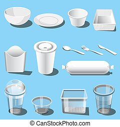 Plastic dishware disposable tableware vector icons - Plastic...