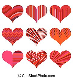 Set of different red hearts. Nine hearts isolated on a white background